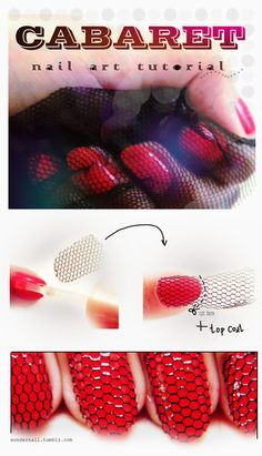 Cabaret Nail Tutorial... it bugs me that the fabric isn't going the same way on the nails in the photo though. but really cool idea
