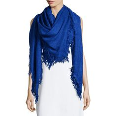 Neiman Marcus XL Square Fringe Scarf ($27) ❤ liked on Polyvore featuring accessories, scarves, blue, square scarves, blue shawl, fringed shawls, blue scarves and fringe scarves