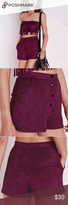 Misguided faux velvet purple high waisted shorts Misguided  Velvet high waisted shorts Size 10  Purple maroon wine color misguided Shorts