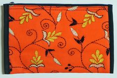 Kantha-style  Embroidered Saffron Cotton Clutch Purse from India