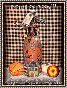"E Pattern - Martha Smalley's Apple Tree Cottage Designs - ""Bottle of Boos"". $5,00, via Etsy."