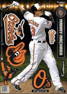 baltimore orioles manny machado 2013 fathead teammate Case of 6