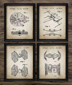 Star Wars Patent Print Set Of 4 Millennium by InstantGraphics