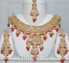 Traditional Bollywood Jodha Akbar E15 Goldtone Maroon Kajol Jewellery Set