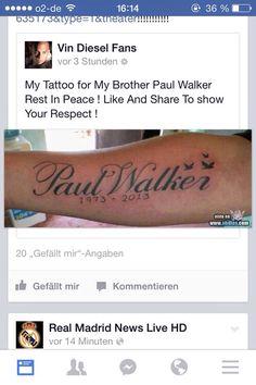 13 Best Paul Walker Tattoo Images Paul Walker Tattoo Rip Paul