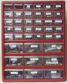 Remember these?  I use to use them for what they were intended...nuts and bolts and such, but also a great way to make little craft thingamabobs more accessible and using less space!  Also great for office stuff!    NRY