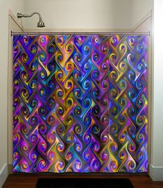 metallic style multi color rainbow chevron shower curtain bathroom decor fabric kids bath white black custom duvet cover rug mat window on Wanelo Colorful Shower Curtain, Custom Valances, Rainbow Chevron, Marble Showers, Modern Master Bathroom, Minimalist Bathroom, Curtain Designs, Custom Wall, Fabric Shower Curtains
