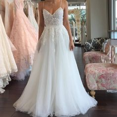 "611 Likes, 18 Comments - Christos (@christosbridal) on Instagram: ""A peek at ""Elana"" at @Nowandforeverbridalbtq!"""
