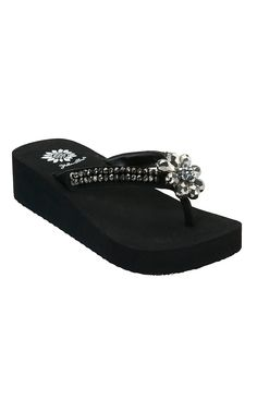 Yellow Box® Ladies Mazine Black Beaded Flower Flip Flops
