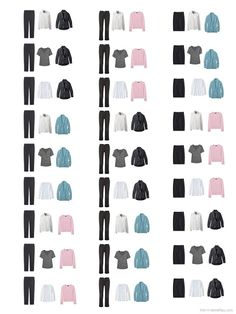 showing 27 possible combinations of a 3 by 3 business travel capsule wardrobe