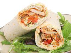 Chicken Fajita Tortilla Wrap Sandwich Stock Photo (Edit Now) 90006283 Burrito Wrap, California Chicken, Order Takeaway, Pasta Cremosa, Chicken Wraps, Healthy Chef, Biryani, Food Lists, Healthy Foods