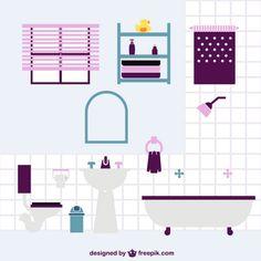 Bathroom flat vector design Free Vector