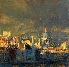 """bofransson: """" Andrew Gifford From Southbank Towards the City study 1 2012 Oil on panel """" Urban Landscape, Abstract Landscape, Landscape Paintings, Abstract Art, Great Paintings, Beautiful Paintings, London Painting, Painting Art, City Art"""