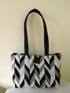 Black, White and Grey Corduroy Purse by Sweet Pea Purse Company on Etsy, $38.00