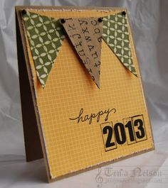 SRM Stickers -@Tenia Nelson created this wonderful New Year's card using SRM's 2013 stickers.