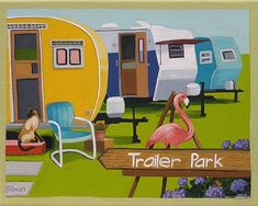 Mid Century Modern Eames Retro Limited Edition Print from Original Painting Trailer Flamingo