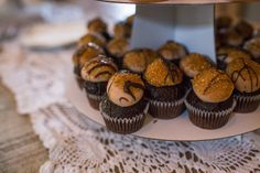 These are darling! Salted caramel chocolate mini cupcakes at Erin & Wesley's beautiful wedding | Photo credit Molly Joseph Photography #weddingcupcakes #charleston #cupcakedownsouth