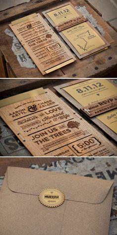 Invitaciones de boda de madera