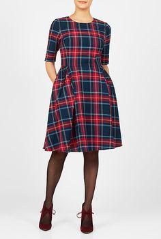 I <3 this Buttoned cotton plaid A-line dress from eShakti