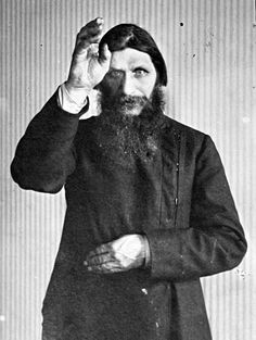 Rasputin - mystic, mad monk, huge influence on Czarina Alexandra. Legends say he couldn't be killed.