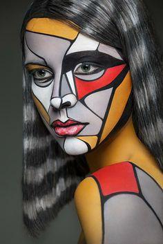 Serie del fotógrafo Alexander Khokhlov y la maquillista Valeriya Kutsan, quienes convierten los modelos en imágenes 2D.