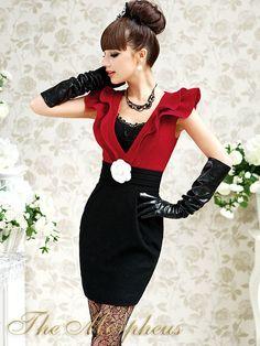 Morpheus Boutique  - Red Black Deep V Neck Ruffle Celebrity Hemline Banded Dress