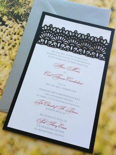 Láser corte invitación de la boda cordón la venda por CelineDesigns