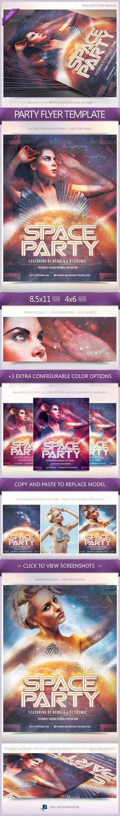 Space Party Flyer  #GraphicRiver        Space Party Flyer Flyer for pop culture/science fiction party or event. Perfectly setup for print. CMYK, 300dpi, full bleeds. Model not included. The model is for preview purposes only.  Includes   8.5×11 US Letter Version  4×6 Postcard Version  1 Space Background  1 Geometric Background  2 3D Planet Renders  Detailed Instructions  Assets:  Bebas Neue  Viper Squadron  Beauty Alien Woman in Futuristic Dress Photo  	…