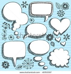 cute quote bubble | Hand-Drawn Sketchy 3-D Shaped Comic Book Style Speech Bubbles ...