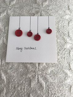Simple and elegant hand made Christmas cards with red button detail - .- Simple and elegant hand made Christmas cards with red button detail - . Printable Christmas Cards, Christmas Card Crafts, Homemade Christmas Cards, Christmas Cards To Make, Christmas Gift Wrapping, Homemade Cards, Handmade Christmas, Holiday Crafts, Red And Gold Christmas Tree