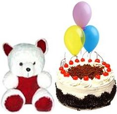 Fresh 500 gms. black forest cake with cute 6 inch teddy bear and colorful airfilled baloons (3 pcs)- Send this exclusive gift to your loved ones through us.
