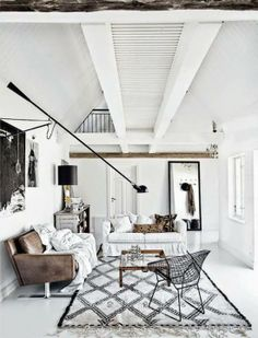 Create the ultimate industrial look by replacing colour with interesting natural texture. This is a great example.