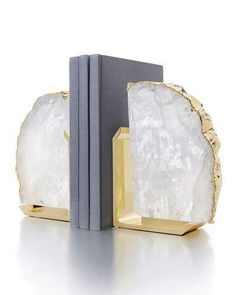 [New] The 10 All-Time Best Home Decor (Right Now) - DIY by Tamara Martin - Books bring so much beauty to our lives why not make them a beautiful part of your space? Our Crystal & Gold Fim Bookends bring alluring shine to an otherwise neutral space. Law Office Decor, Home Office Design, House Design, Modern Bookends, Classic Clocks, Crystal Decor, Clear Quartz Crystal, Accent Pieces, Stones And Crystals