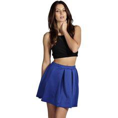 Boohoo Basics Jessica Box Pleat Skater Skirt ($10) ❤ liked on Polyvore featuring skirts, blue, skater skirt, bodycon midi skirt, pleated skirt, blue skirt and flared midi skirt