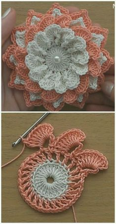 I think that a model that is contrary to ordinary knitting flower motifs will do a lot of work. I think that this crochet can inspire different motifs from different floral motifs.Very Easy Flower Embellishment - Crochet Ideas Crochet Vintage, Love Crochet, Beautiful Crochet, Irish Crochet, Easy Crochet, Crochet Flower Tutorial, Crochet Flower Patterns, Crochet Flowers, Knitting Patterns