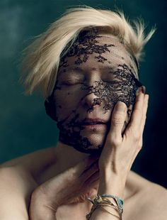 Tilda Swinton, photographed by Norman Jean Roy. Styling by Alicia Lombardini; Hair by Elsa using Oribe Hair Care for Shuly NY