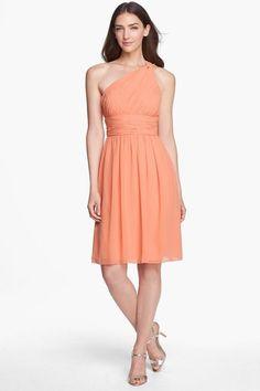 DONNA MORGAN RHEA One Shoulder Chiffon Dress 16W Peach Fuzz Bridesmaid #DonnaMorgan #OneShoulder #Formal