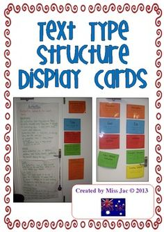 This 40 page product contains display cards for the writing structure of 8 different text types/genres/writing forms.These include:1. Factual Recount2. Literary Recount3. Personal Recount4. Narrative5. Information Report6. Procedure7. Exposition8. DiscussionPrint them on coloured paper and laminate them for your classroom display.I have used these successfully with Grades 1-4, including the terminology, which becomes second nature to the students with daily reinforcement.Happy Teaching!