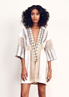 Ace & Jig Kimono in Solstice. Substantial mid-weight single cloth, open front with wide elbow length sleeves. Woven in India from Cotton and Lurex Ace And Jig, Style Me, Kimono, Cover Up, Shirt Dress, Denim, Sleeves, Cotton, Jackets