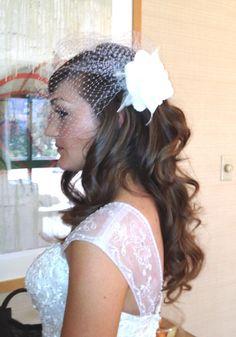 Bride w birdcage veil. Hair and Makeup by Lisa Leming   www.lisaleming,com