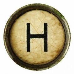 Typewriter-Alphabet-Letters-H-Round-Coaster-Brand-New