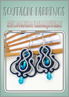 Large openwork soutache earrings made with the soutache embroidery technique using blue glass cabochons. Original handcrafted date or party earrings.