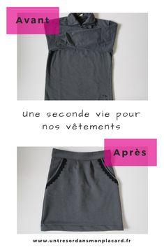 Couture upcycling : transformer un vieux sweat d'homme en une jupe.