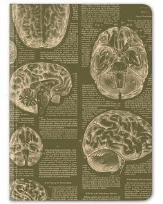 Brain Vintage Hardcover Journal - Large - Cognitive Surplus - 1