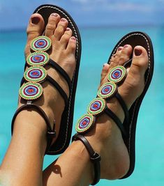 African Rings Maasai Beaded Sandals /Flipflops by TheMaasaiShop