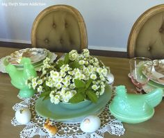 Jadeite, bunnies and chickens..oh my-what a lovely spring tablescape!