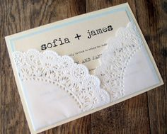 Wedding Invitation Vintage Lace Doily Pocket via Etsy