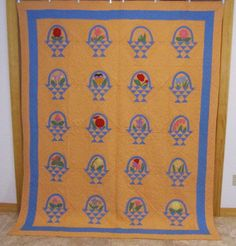 Show Stopper Dated 1933 Basket Floral Applique Vintage Quilt 90 x 72 Peach Blue | eBay