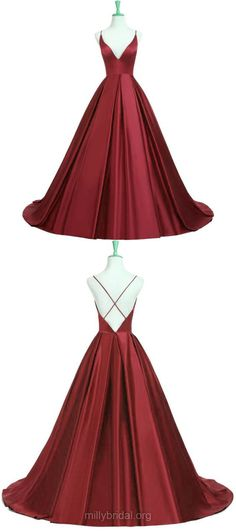 Long Prom Dresses, Ball Gown Prom Dresses, Red Prom Dresses 2018, Princess Prom Dresses V-neck, Tulle Ruffles Prom Dresses Backless