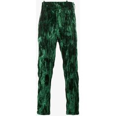 Ann Demeulemeester Crushed Velvet Trousers ($560) ❤ liked on Polyvore featuring men's fashion, men's clothing, men's pants, men's casual pants and mens green pants